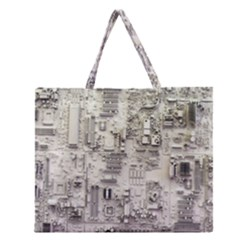 White Technology Circuit Board Electronic Computer Zipper Large Tote Bag by BangZart
