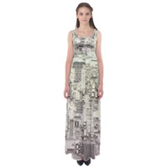 White Technology Circuit Board Electronic Computer Empire Waist Maxi Dress