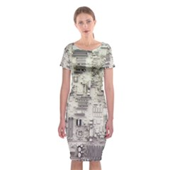 White Technology Circuit Board Electronic Computer Classic Short Sleeve Midi Dress