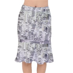 White Technology Circuit Board Electronic Computer Mermaid Skirt