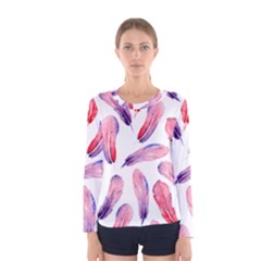 Watercolor Pattern With Feathers Women s Long Sleeve Tee
