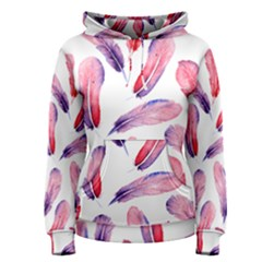 Watercolor Pattern With Feathers Women s Pullover Hoodie