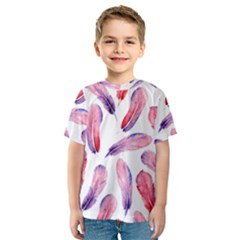 Watercolor Pattern With Feathers Kids  Sport Mesh Tee
