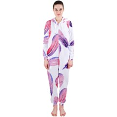 Watercolor Pattern With Feathers Hooded Jumpsuit (ladies)