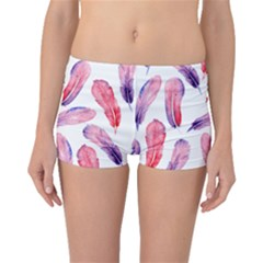 Watercolor Pattern With Feathers Boyleg Bikini Bottoms
