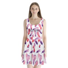 Watercolor Pattern With Feathers Split Back Mini Dress