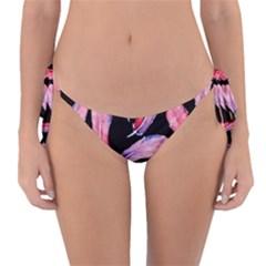 Watercolor Pattern With Feathers Reversible Bikini Bottom