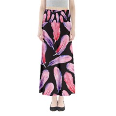 Watercolor Pattern With Feathers Full Length Maxi Skirt