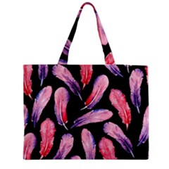 Watercolor Pattern With Feathers Medium Zipper Tote Bag