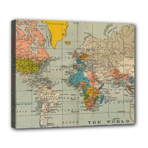 Vintage World Map Deluxe Canvas 24  X 20
