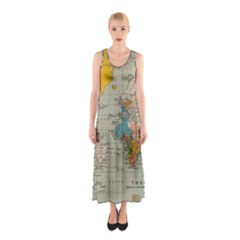 Vintage World Map Sleeveless Maxi Dress