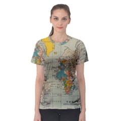 Vintage World Map Women s Sport Mesh Tee