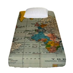 Vintage World Map Fitted Sheet (single Size)