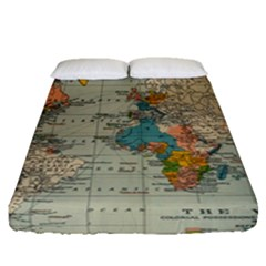 Vintage World Map Fitted Sheet (queen Size)