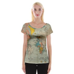 Vintage World Map Cap Sleeve Tops
