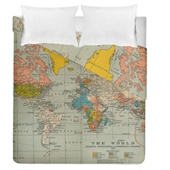 Vintage World Map Duvet Cover Double Side (queen Size)