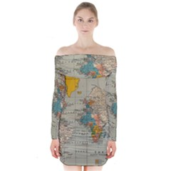 Vintage World Map Long Sleeve Off Shoulder Dress