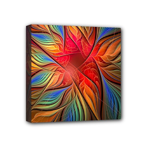 Vintage Colors Flower Petals Spiral Abstract Mini Canvas 4  X 4  by BangZart