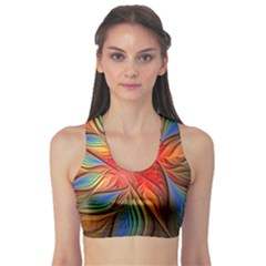 Vintage Colors Flower Petals Spiral Abstract Sports Bra