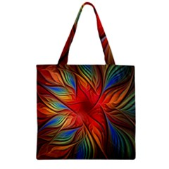 Vintage Colors Flower Petals Spiral Abstract Zipper Grocery Tote Bag by BangZart