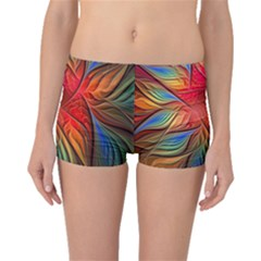 Vintage Colors Flower Petals Spiral Abstract Boyleg Bikini Bottoms