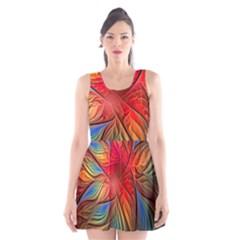 Vintage Colors Flower Petals Spiral Abstract Scoop Neck Skater Dress