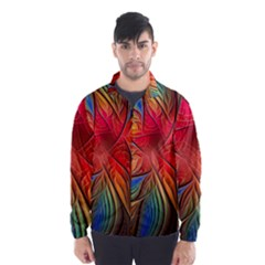 Vintage Colors Flower Petals Spiral Abstract Wind Breaker (men)