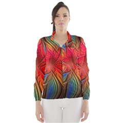 Vintage Colors Flower Petals Spiral Abstract Wind Breaker (women)
