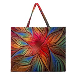 Vintage Colors Flower Petals Spiral Abstract Zipper Large Tote Bag by BangZart