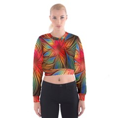 Vintage Colors Flower Petals Spiral Abstract Cropped Sweatshirt