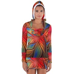 Vintage Colors Flower Petals Spiral Abstract Long Sleeve Hooded T Shirt