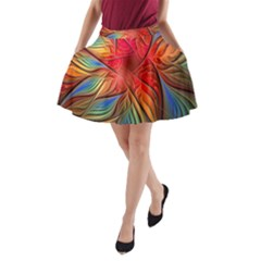 Vintage Colors Flower Petals Spiral Abstract A Line Pocket Skirt