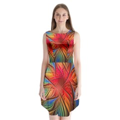 Vintage Colors Flower Petals Spiral Abstract Sleeveless Chiffon Dress