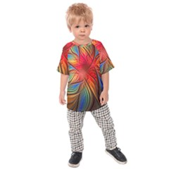 Vintage Colors Flower Petals Spiral Abstract Kids Raglan Tee