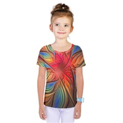 Vintage Colors Flower Petals Spiral Abstract Kids  One Piece Tee