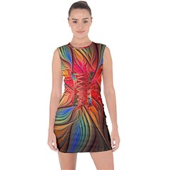 Vintage Colors Flower Petals Spiral Abstract Lace Up Front Bodycon Dress