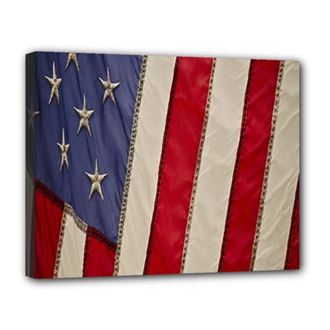 Usa Flag Canvas 14  X 11  by BangZart