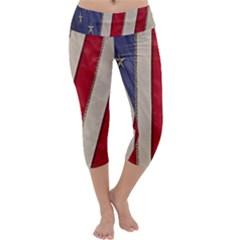 Usa Flag Capri Yoga Leggings by BangZart