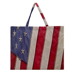 Usa Flag Zipper Large Tote Bag