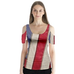 Usa Flag Butterfly Sleeve Cutout Tee