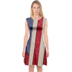 Usa Flag Capsleeve Midi Dress