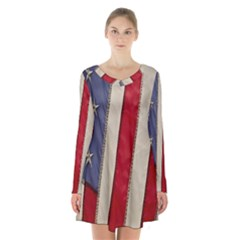Usa Flag Long Sleeve Velvet V Neck Dress