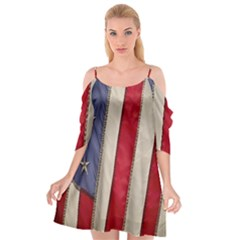 Usa Flag Cutout Spaghetti Strap Chiffon Dress