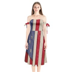 Usa Flag Shoulder Tie Bardot Midi Dress