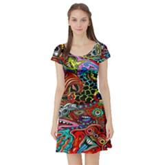 Vector Art Pattern Short Sleeve Skater Dress