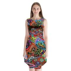 Vector Art Pattern Sleeveless Chiffon Dress