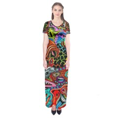 Vector Art Pattern Short Sleeve Maxi Dress