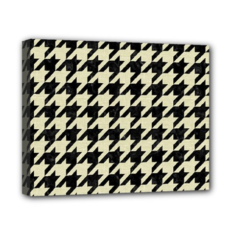 Houndstooth2 Black Marble & Beige Linen Canvas 10  X 8  by trendistuff