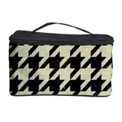 Houndstooth2 Black Marble & Beige Linen Cosmetic Storage Case by trendistuff