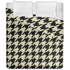 Houndstooth2 Black Marble & Beige Linen Duvet Cover Double Side (california King Size) by trendistuff
